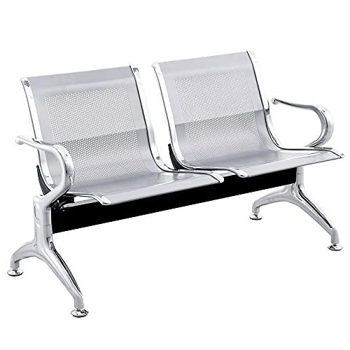 PrimeMatik - Bancada para sala de espera con sillas ergonómicas plateadas de 2 plazas