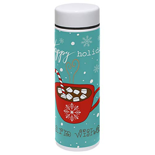 Christmas Thermos Vacuum Insulated Bottle,Red Mug Candy Cane Stick Snowflakes Warm Wishes 304 Stainless Steel Water Bottle for Kids Adult,BPA Free Coffee Travel Mug Cup Mini 7.5 Oz Best Christmas Gift