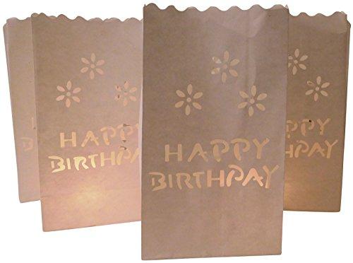 10 Stück Papier Lichttüten Lichtertüten Happy Birthday Geburtstag für Teelichter Kerzen Laternen weiß Kerzenhalter Kerzentüten