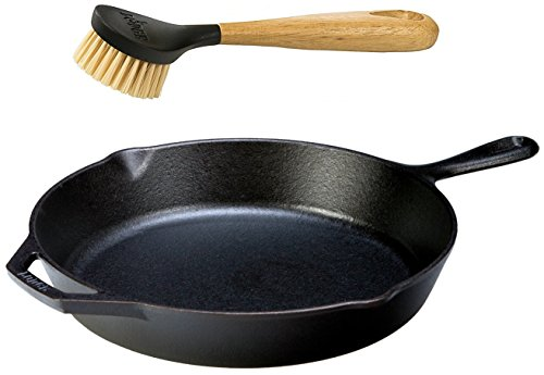Lodge Seasoned Cast Iron Skillet with Scrub Brush- 12 inch Cast Iron Frying Pan With 10 inch Bristle...