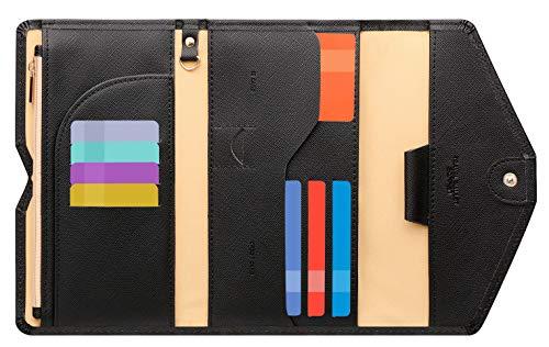 Zoppen多目的Rfidブロッキングトラベルパスポート財布(Ver.4)三つ折りオーガナイザーホルダー, 濃紺