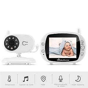 Vigilabebés Inalámbrico, BOIFUN Bebé Monitor Inteligente con Pantalla LCD 3.5″, Cámara Vigilancia Bebe, Visión Nocturna, Monitoreo de Temperatura, Comunicación Bidireccional – Ampliable a 4 Cameras