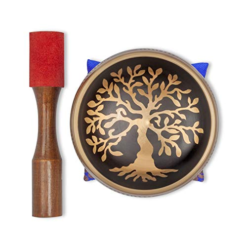 """Tibetan Singing Bowl – Hand Crafted Chakra Singing Bowl Set with Mallet & Cushion – Brass 4"""" Sound Therapy Bowl for Meditation, Yoga & Gift – Tree of Life Prayer Bowl with Deep Sound by Bim–Bam–Bom"""