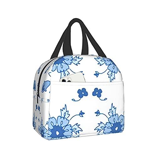 mengmeng Bolsa de almuerzo con aislamiento floral persa en azul para mujer, bolsa de almuerzo a prueba de fugas para hombres y niñas niños al aire libre picnic trabajo