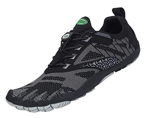 Zapatillas de Trail Running Minimalistas Hombre Mujer Barefoot Zapatillas de Deporte Exterior Interior,06 Negro,Gr.42