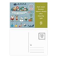 クリスマス雪だるまサンタクロースフェスティバル 詩のポストカードセットサンクスカード郵送側20個
