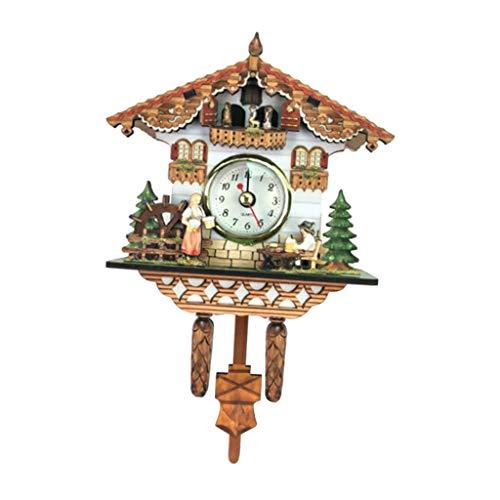 D dolity Madera Cuco Reloj de cuco Reloj Negro Bosque Reloj de pared Ornament para salón dormitorio