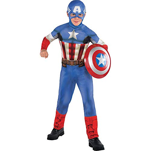 Costumes USA Captain America Halloween Costume Classic for Boys, Medium, Includes Red, White, and Blue Jumpsuit and Hood