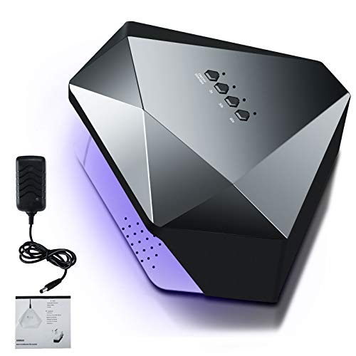 Anbull UV Lampe für Gelnägel, 48W Nageltrockner UV LED Lampe für Nägel, mit 5/30/60s Timer Einstellungen und Infrarot Sensor,Luxus-Diamant-Look, für alle Gel (Schwarz)
