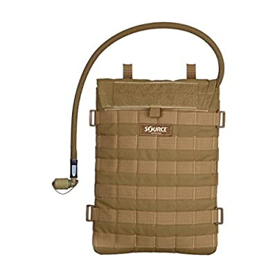 Source Tactical Razor Hydration Pouch with WLPS 3L Low Profile Hydration Bladder - for Integration with MOLLE-Based Ballistic Vest - High-Flow Push-Pull Storm Drinking Valve - 100oz, 4001490203, Coyote