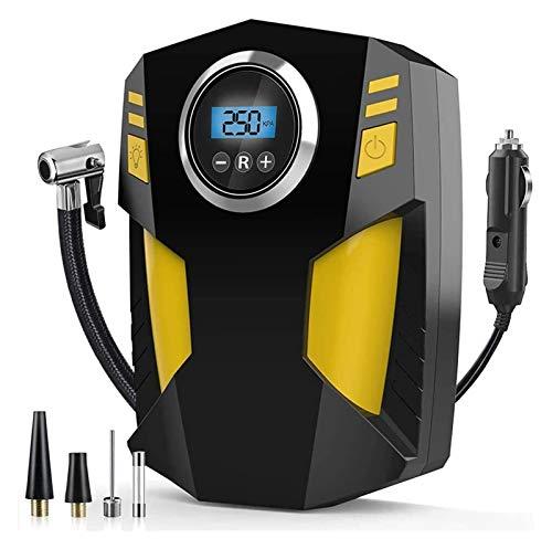 Inflador de neumático digital, bomba de neumáticos de coche de aire de aire portátil DC 12V 100PSI Bomba de aire de neumáticos de coche rápido con 3 adaptadores de boquilla y luz LED digital para todo