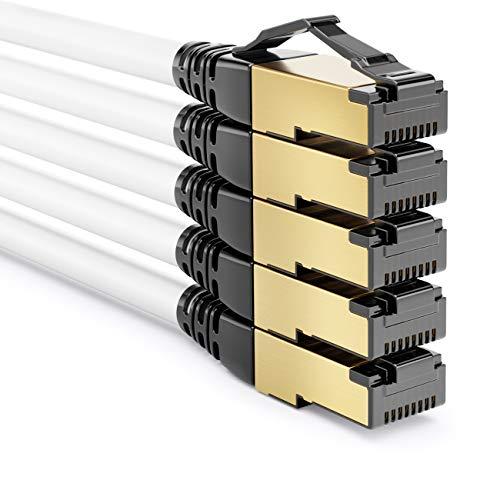 deleyCON 5X 1m CAT8.1 Patchkabel Netzwerkkabel Datenkabel S/FTP PIMF 2000MHz 40Gbit RJ45 LAN DSL Kabel Halogenfrei CAT.8 Ethernet Kabel RJ45 Stecker - Weiß