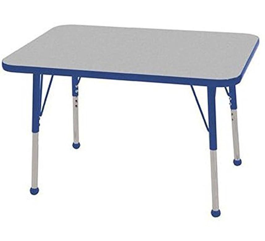 パット検出見えるECR4Kids T-Mold 24 x 36 Rectangular Activity School Table Toddler Legs w/Ball Glides Adjustable Height 15-23 inch (Grey/Blue) [並行輸入品]