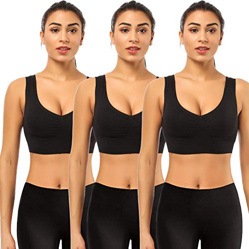 Sports bras for Women,BESTENA 3 Pack Seamless Comfortable Yoga Bra with Removable Pads(Black,Large)