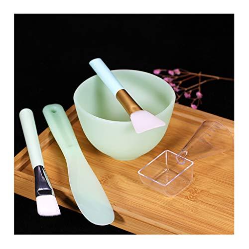 NIUZIMU DIY Beauté Set De Masque en Silicone Set Masque Brosse Aucun Outil de Masque Fait Maison 5 pièces Set Bol + bâton + Brosse + Brosse en Silicone + cuillère -1385 (Color : Green)