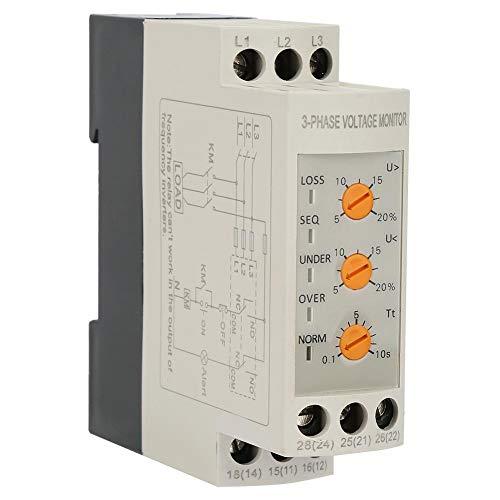 Acogedor 3-fasen sequentie-beveiligingsrelais, 3-fasen spanningsbewakingsrelais, DIN-railmontage, 2 groepen NO- en NC-contacten, voor ventilatoren, luchtcompressoren, kranen