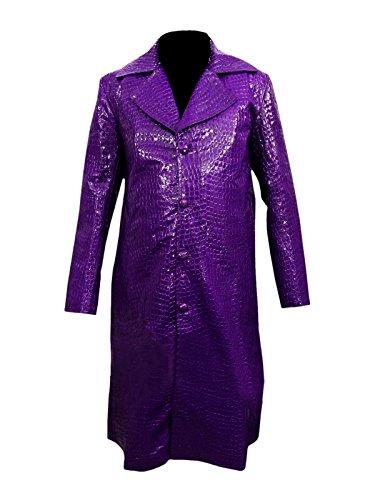 Suicide Squad Jared Leto Joker Purple Crocodile Textur Lederjacke Long Coat- Perfekte Halloween-Kostüm- M