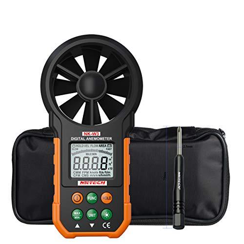 NKTECH NK-W3 Anemómetro digital LCD retroiluminado medidor de viento medidor de volumen de aire con botones multifunción para windsurf, cometa, vela, surf, pesca y destornillador TL-1
