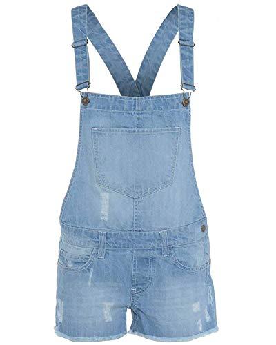 New Kids Latz-Shorts für Mädchen, Jeans mit heller Waschung, Jumpsuit, Dungaree-Shorts Gr. 7-8 Jahre, Light wash