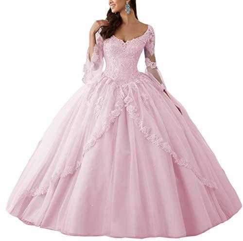 HUINI Ballkleider Lang Spitze Brautkleider Langarm Quinceanera Kleider Prinzessin V-Ausschnitt Hochzeitskleider Rosa 38