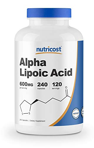 powerful Nutri Costa Alpha Lipoic Acid 600 mg per 600 servings, 240 capsules – gluten-free, vegetarian capsules, soy …