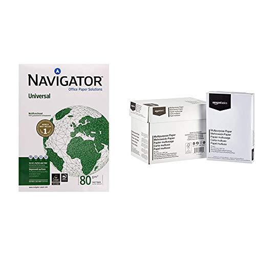 The Navigator Company Carta per Fotocopiatrice e Multiuso, A3, gr. 80 & Amazon Basics Carta da stampa multiuso A4 80gsm, 5x500 fogli, bianco