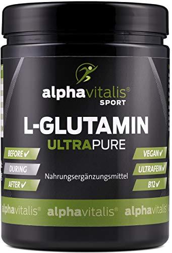 Alphavitalis L-glutamine Ultra Pure   Poedervorm, 500 g   99,95% puur   Vrij van lactose, toevoegingen en veganistisch