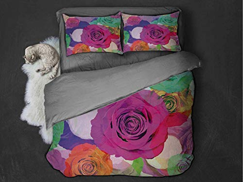 Toopeek Art hotel luxury bed linen Love Valentines Floral Arrangement with Vivid Roses Nature Flowers Botany Print polyester - soft and breathable (King) Magenta Turquoise