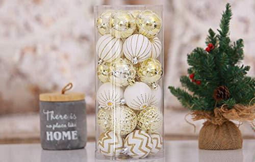FeiliandaJJ 30PCS Weihnachtskugel Boxed Bruchsicher Weiß Gold Kugel Weihnachten Deko Anhänger Christbaumkugeln für Weihnachtsbaum Party Home Hochzeit (Weißgold)
