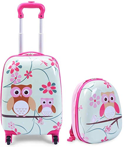 COSTWAY ABS Kids Luggage Set, 12'' Backpack 16'' Suitcase Children Boys Girls Travel School Trolley Case (Pink+Green)