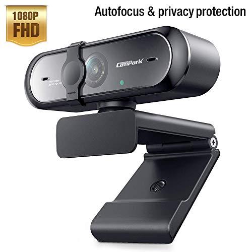 Campark Webcam 1080P mit Mikrofon, Autofokus USB Webcam für PC, Mac, Laptop Computer Kamera für Live-Streaming, Videoanruf, Konferenz, Online-Unterricht, Spiel