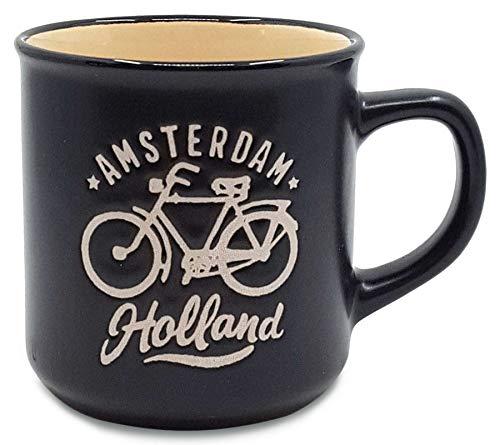 Matix Amsterdam Holland - Taza (cerámica, 8 cm, 250 ml), color crema y negro