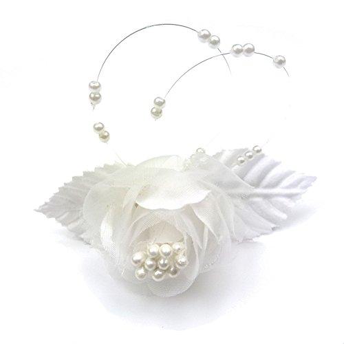 rougecaramel - Accessoires cheveux - Barrette fleur pour mariage cérémonie - blanc