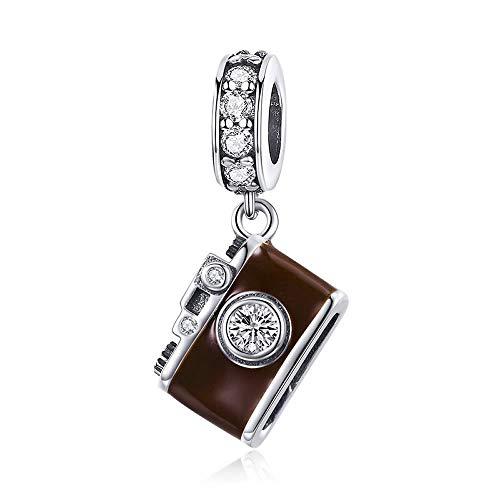 Camera Echte 925 Sterling Zilver Camera Bruin Emaille Hanger Charm fit Charm Armband & Bangles DIY Sieraden Maken