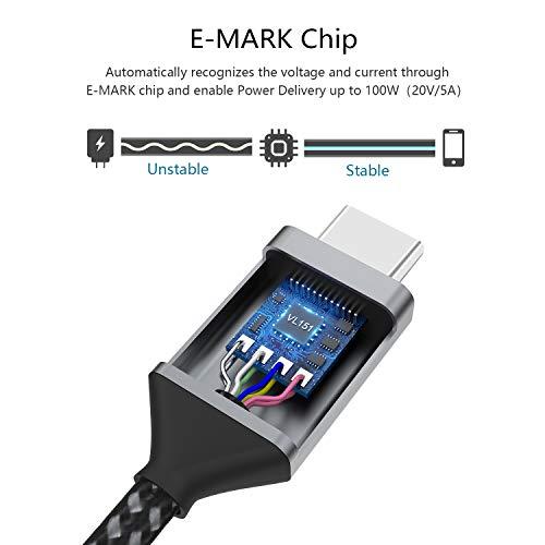 USB C auf USB C Kabel 1M,Nimaso USB Typ C 100W 20V/5A PD Schnellladekabel mit E-Mark Chip Ladekabel für MacBook,Macbook Pro,iPad Pro 2020,2018,MacBook Air,ChromeBook Pixel,Samsung Galaxy S21 Ultra S20