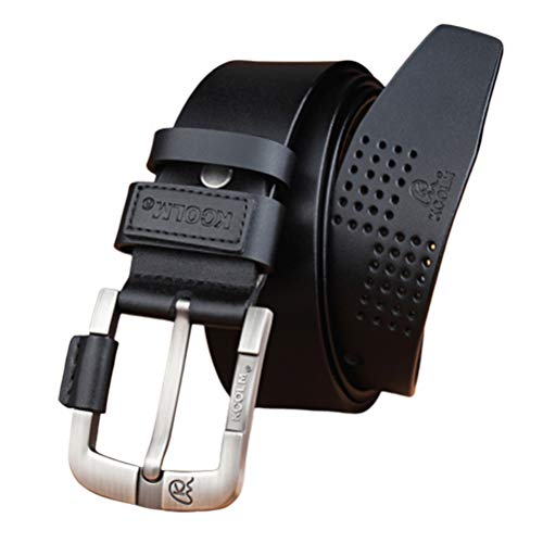 Men Belt Gürtel Herren Herrengürtel Echtes Leder Freizeit Designer Schwarz Braun Vintage Taillengürtel Für Jeans,Black,105cm