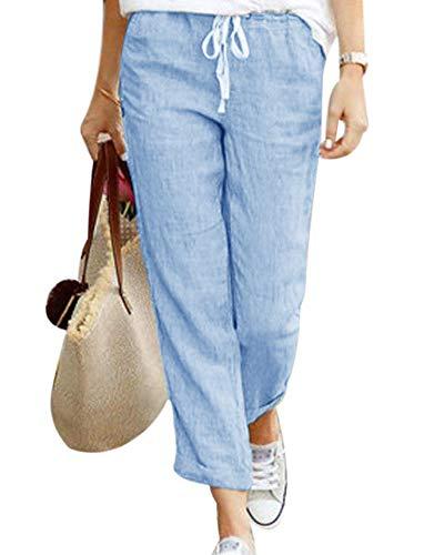 Minetom Pantacourt Femme Ete Causal Taille Haute Taille élastique Lin Ample Pantalon Fluide 7/8 Longueur Pants Bleu Large