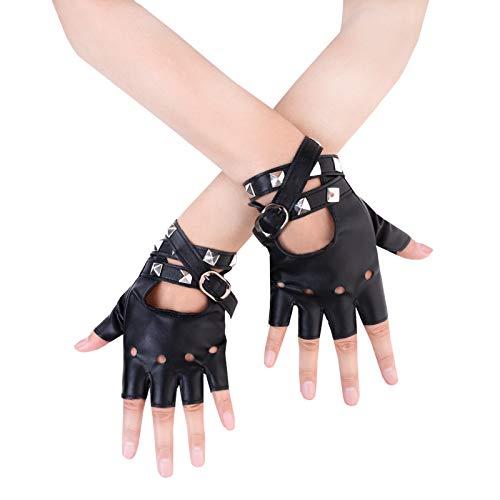 Jisen Guanti da donna in stile punk, con rivetti e cinturino, a mezze dita, in pelle ecologica in poliuretano Nero  Taglia unica