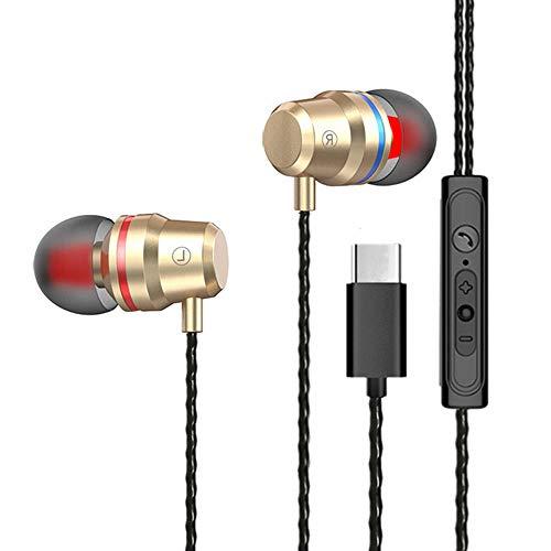 Yowablo In Ear Kopfhörer mit Lautstärkeregler Noise Cancelling Stereo Ohrhörer mit 3,5mm Klinkenstecker Kopfhörer Typ C USB-C Headset Kopfhörer-Ohrhörer Mit drahtgesteuertem Mikrofon ( Gold )