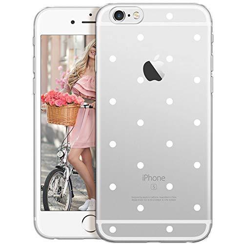 QULT Carcasa para Móvil Compatible con iPhone 6, Funda iPhone 6S Silicona Transparente con Dibujos Suave Bumper Teléfono Caso para iPhone 6, 6S Puntos Blancos