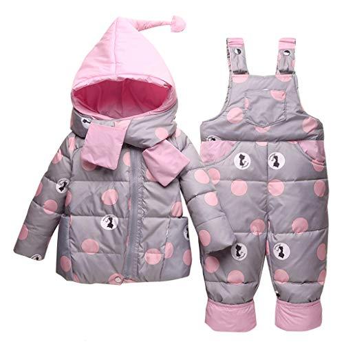 Vimukun Baby Winter 3 Stück Schneeanzug Kapuze Daunenjacke + Schneehosen + Schal Kinder Skianzug Outfit Bekleidungssets Grau 3-4 Jahre