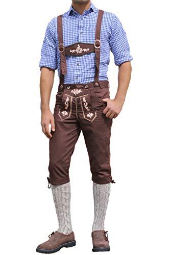 De cuero Pantalones, Knickerbockers trajes vaqueros pantalones de algodón con tirantes de Brown (52)