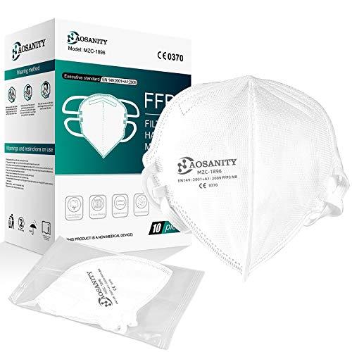 AOSANITY FFP3 Maske-Atemschutzmaske hoher Filtration, Mundschutz mit mehrschichtigem System, Gesichtsmaske Mundschutz EN 149:2001+A1:2009