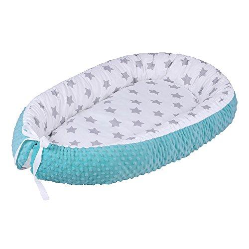 LULANDO MINKY Babynest, multifunktionales Kuschelnest für Babys und Säuglinge, Nestchen, Reisebett, 100 % Baumwolle, antiallergisch, Außenmaße: 80 cm x 45 cm x 15 cm, Farbe: Grey Stars / Mint