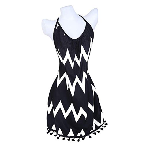 IHCIAIX Kleid,Sexy Bandage rückenfreies, figurbetontes Kleid, ärmelloses Neckholder-Sommerkleid für Frauen, Print Short Party Casual Striped Dress Sommerkleid, Schwarz, 6XL