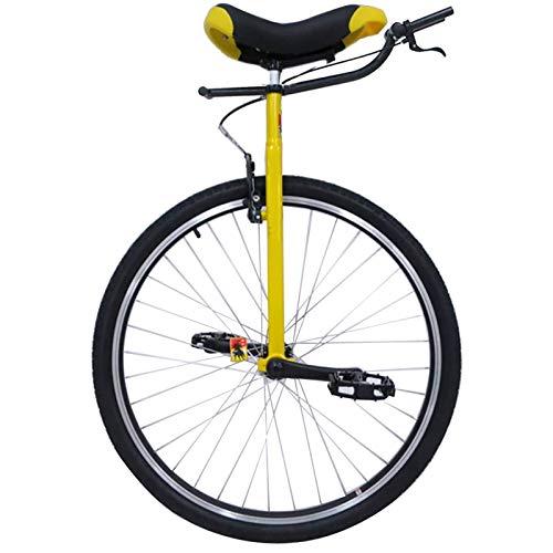SSZY Monociclo Monociclos para Adultos de 28 Pulgadas, con Freno y Manija, Rueda Grande Equilibrio Ciclismo para Niños Grandes/Entrenador/Mamá/Papá, Cuya Altura de 150-195 cm (Color : Yellow)