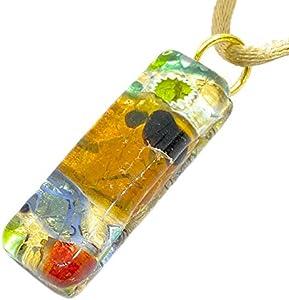 Colgante de cristal de Murano con hoja de oro, 3 cm x 1 cm, incluye caja de regalo y certificado (Lisa)