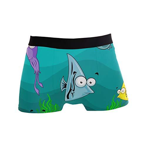 JIRT Herren Boxer Briefs Lustige Ozean Fisch Marine Tiere Unterwäsche männlich atmungsaktiv Stretch Badehose Bulge Pouch weiche Unterhose