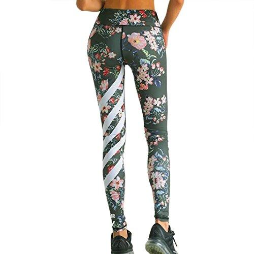 Gillberry Women High Waist Sport Gym Yoga Running Fitness Leggings Pants Trouser (M, Army Green)