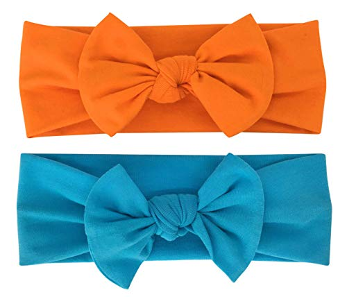 Babygiz Baby Girl Headbands-Infant,Toddler Cotton Handmade Hairbands with Bows Child Hair Accessories Pack of 2 (Orange, Turquoise Blue, 2)